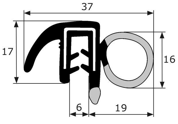 21 8x18mm goma estanqueidad puerta pesta a for Gomas estanqueidad puertas