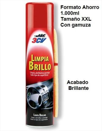 Limpia Brillo Interiores Spray 1 litro + Gamuza