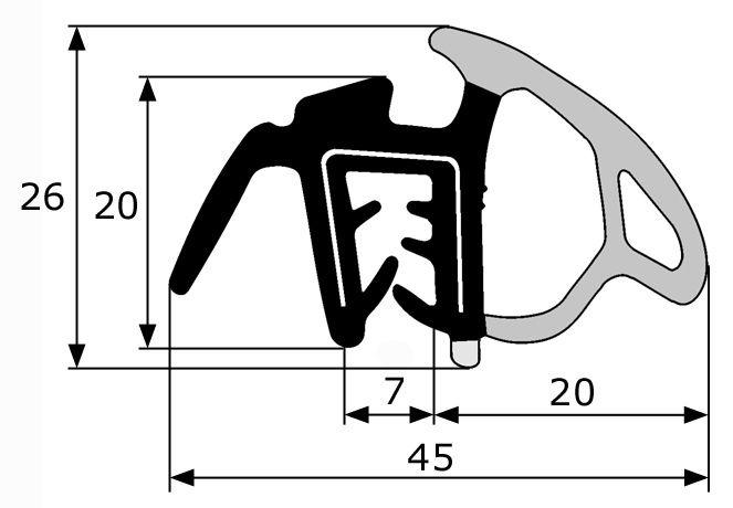 45x26mm goma estanqueidad puerta pesta a for Gomas estanqueidad puertas