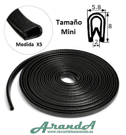 8x6mm Burlete Flexible Mini. Pvc con interior metálico · Varios Colores