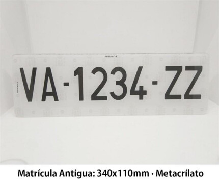 Alfa Antigua Acrílica - Placa Matrícula Corta Antigua · 340x110mm