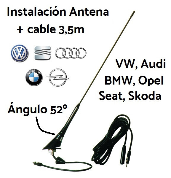 Antena + cable 3,5m para Volkswagen, BMW, Audi, Opel, Seat. Ángulo 52º