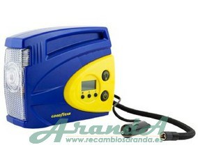 Compresor Digital Goodyear 100 PSI 12V LED 2,4Bar + Adaptadores