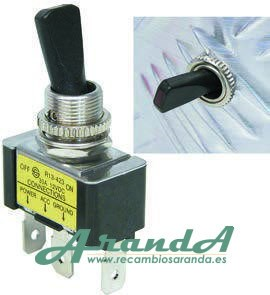 Interruptor Negro Palanca On/Off 12V 20A