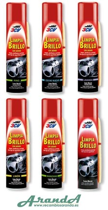 3CV Limpia Brillo Interiores + Gamuza. Varios Aromas · Spray 520ml