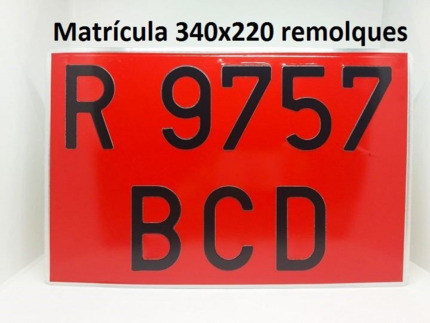 Placa Alta Roja Remolques · Aluminio 340x220mm