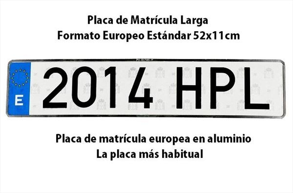 Matrícula Larga Europea Estándar · Aluminio 520x110mm