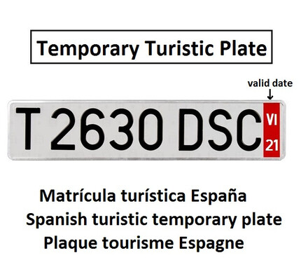 Placa Matrícula Turística Larga · Aluminio 520x110 mm