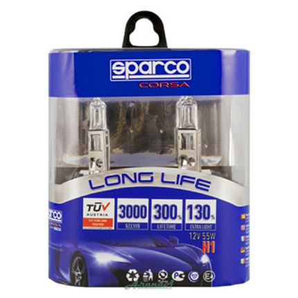 Set Lámparas Sparco H1 Long Life +130%