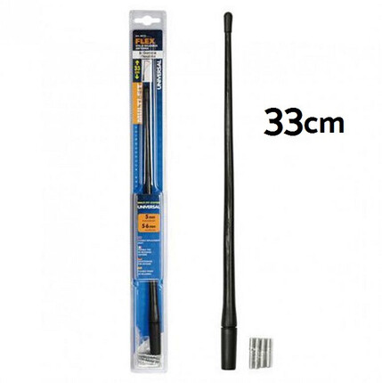 Varilla Antena 33cm. Flexible. Color negro. Universal.